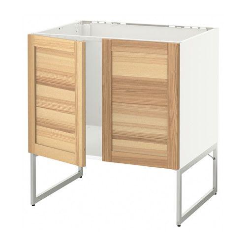 IKEA - METOD, Unterschrank für Spüle + 2 Türen, Torhamn naturfarben Esche, weiß, , Das Grundelement ist stabil konstruiert: 18 mm stark.Dank der Schnappscharniere lassen sich die Türen einfach ohne Schrauben montieren und zum Reinigen leicht abnehmen.
