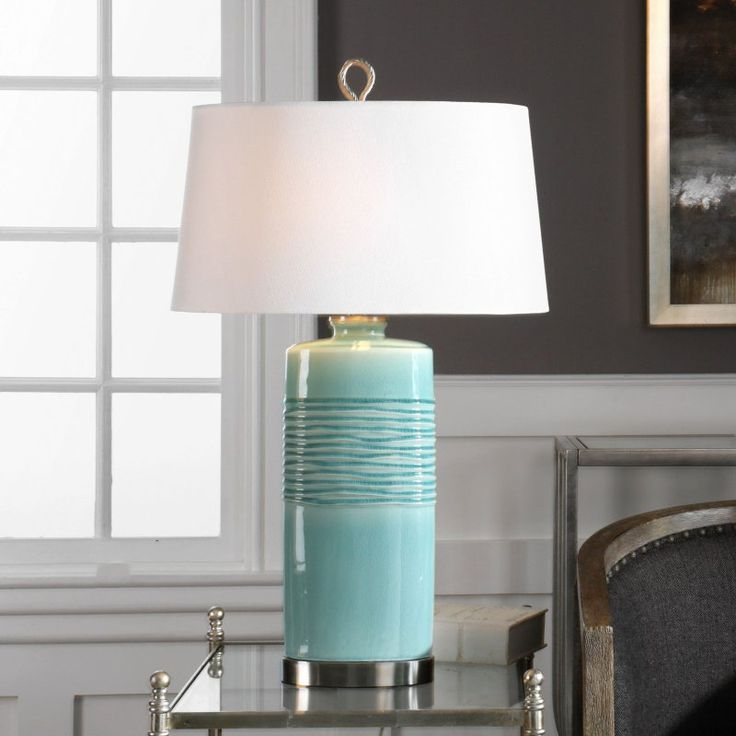 Uttermost Rila Distressed Teal Table Lamp - 27569