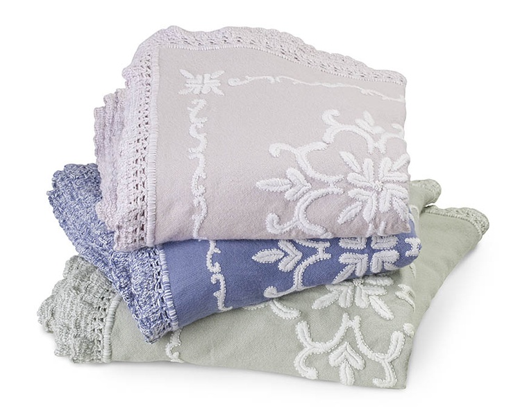 Bellavere coverlet made with 100% Baby Alpaca for the softest feel. Available in Lilac Ash, Cornflower Blue, and Silver Sage.