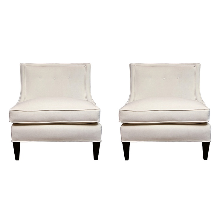 Pair of Classic Armless Mid Century Chairs  United States  1940's  Vintage armless chairs. Very elegant lines with button back and dark wood legs. Newly upholstered in soft white velvet