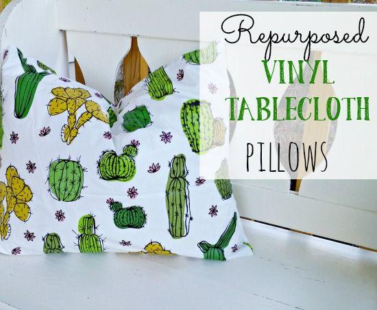 Repurpose a cheap vinyl tablecloth into adorable outdoor pillows!