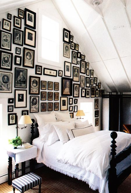 Wall Of Frames in Slanted-Ceiling Bedroom | photo Laura Resen | via Elle Decor | House & Home