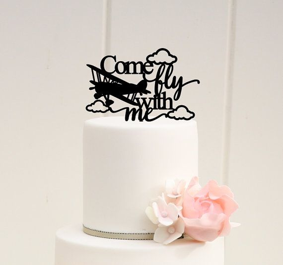 Original Airplane Wedding Cake Topper Biplane by ThePinkOwlDesigns