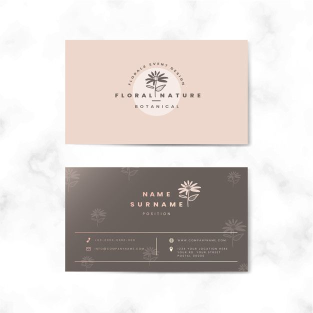 Download Botanical Two Sided Name Card Vector For Free Business Card Design Loyalty Card Design Card Design