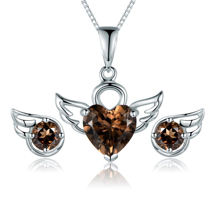 JiangXin Natural Smoky Quartz Jewellery Set 925 Sterling Silver Earring Studs Pendant Necklace for Women/Girls Angel Wing Engagement Wedding Bridal Jewellery *** Continue with the details at the image link. #JewellerySets