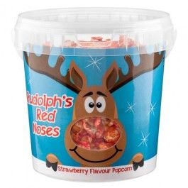 Rudolph's noses - Sweet red popcorn in a tub.