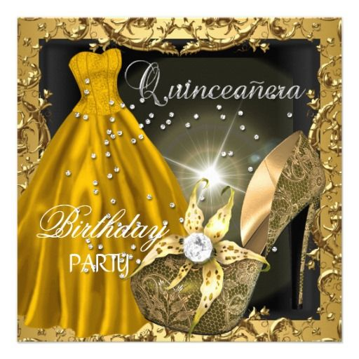 92 best invitaciones images on pinterest invitation cards quinceanera 15th birthday party gold dress gown card stopboris Gallery