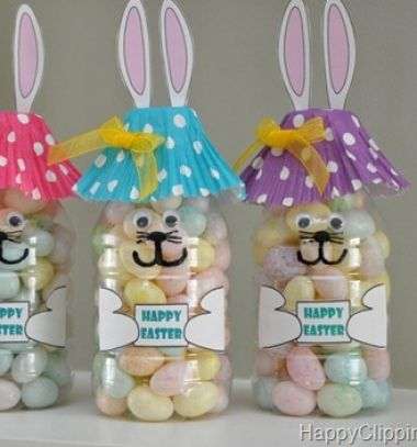 DIY Easter bunny treat boxes from plastic bottles