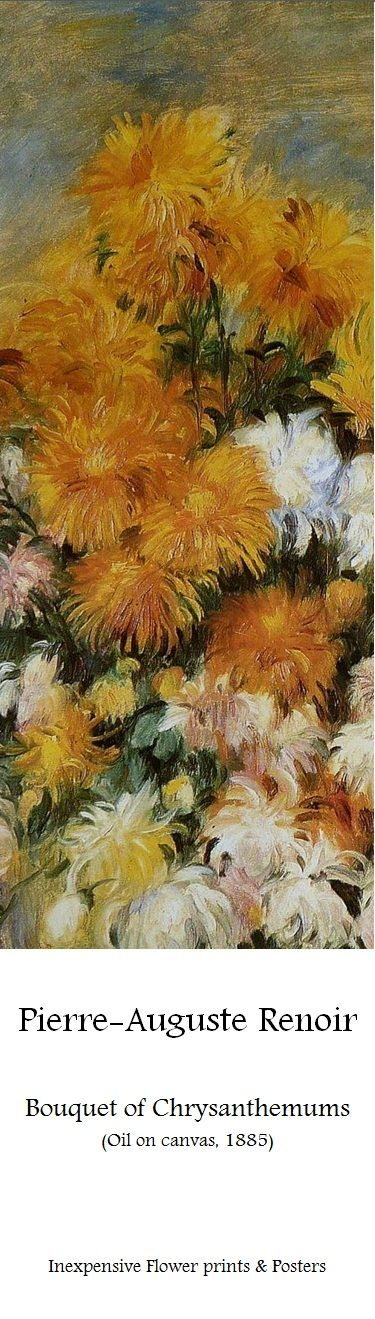 Pierre-Auguste Renoir, Bouquet of Chrysanthemums (Oil on canvas, 1885) | Visit our online-gallery for dozens of beautiful flower art-prints & posters at affordable prices: www.metropolasia.com/flower-prints