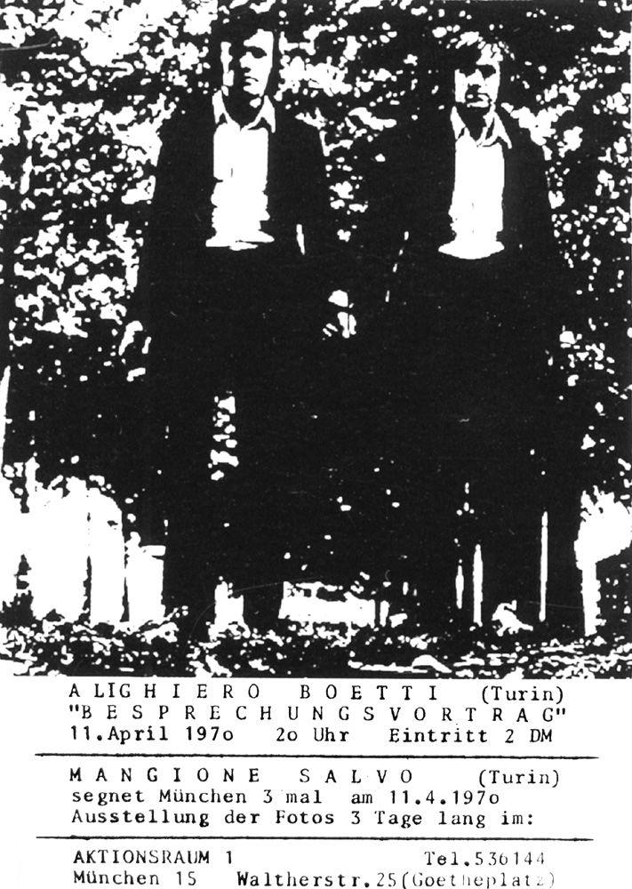 """I Gemelli di Alighiero Boetti, poster stampato in serigrafia in occasione dell'azione """"Besprechungsvortrag (München, Aktionsraum 1, 11 aprile 1970)"""