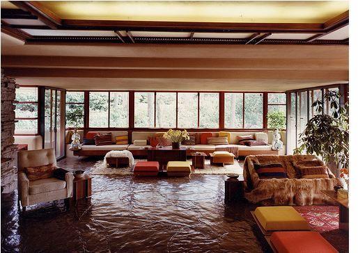 "Frank Loyd Wright's ""Falling Water"" house's livingroom"