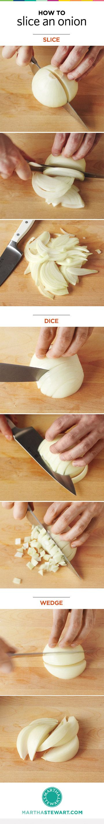 The 3 basics ways to cut an onion -- so many recipes call for them, save time and effort by doing it right! everydayfood.com: How To Cut An Onions, Cooking Basic, Slices Onions, Basic Onions, Everydayfood Com, How To Cut Onions, Recipes Call, Facs Food, Kitchens Basic