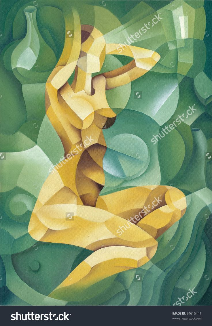 Young Beautiful Cubistic Naked Woman by Eugene Ivanov. #eugeneivanov #elegant #woman #portrait #lady #painting #art #nude #cubism #girl #female #femina #@eugene_1_ivanov