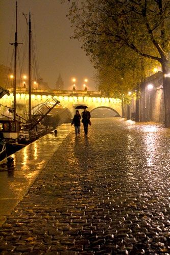 Paris Photos at Frommer's - A couple walks in the rain along the River Seine, Paris. Photo by Wanderlust07/Frommers.com Community.