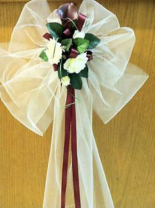 Wedding Pew Decorations | ... about Calla Lily Church Pew Bow Burgundy Color Decorations for Wedding
