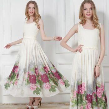 Высокое качество 2015 летний новый элегантный длинные участки шифон рукавов печать тонкой талией платье Большой размер пион цвет свадебные платья