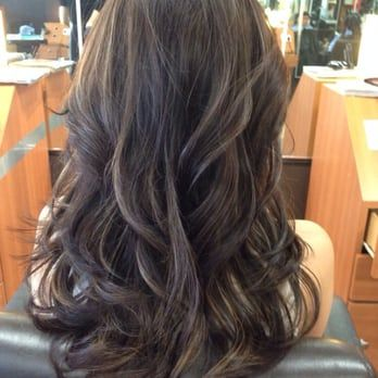 ash brown and violet highlights! Thanks David and his team for an amazing experience :) - Yelp