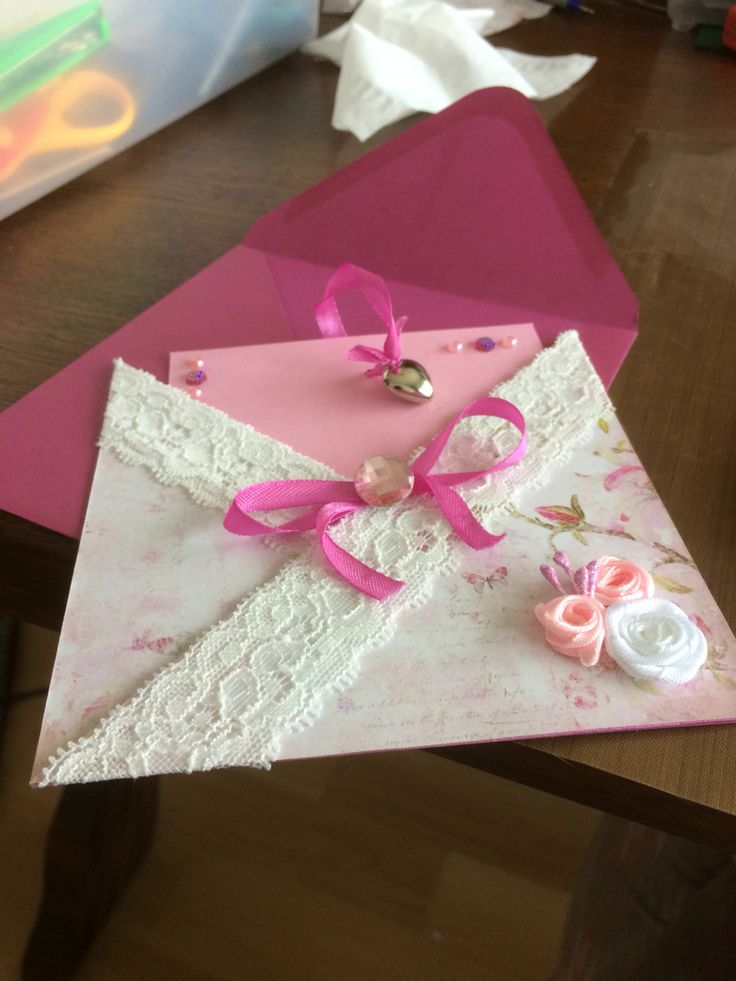 flower card pink janneke brinkman with lace