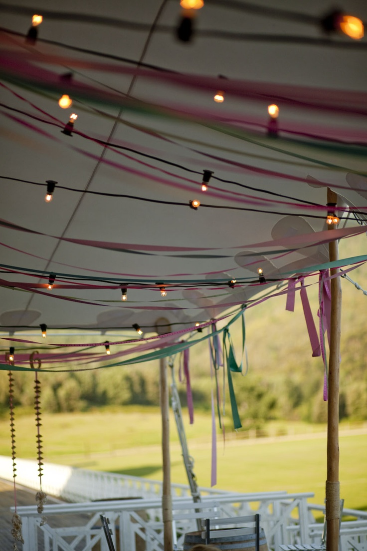 Ribbon Canopy - Rustic Beach Theme 21st   www.eventsandtents.co.za