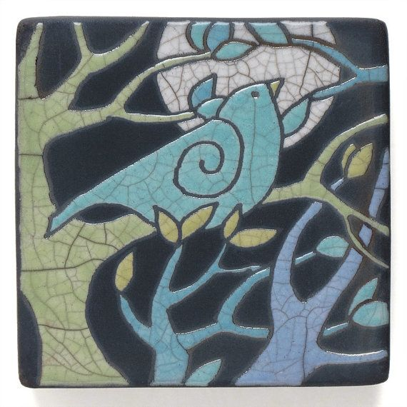 BirdTreeCeramic Wall Art Aqua  birdCeramic by DavisVachon on Etsy