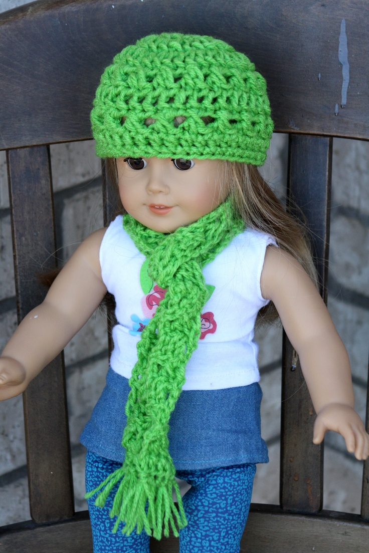 Crochet Hat Pattern American Girl Doll : American Girl Sized Crochet Hat and Scarf American Girl ...