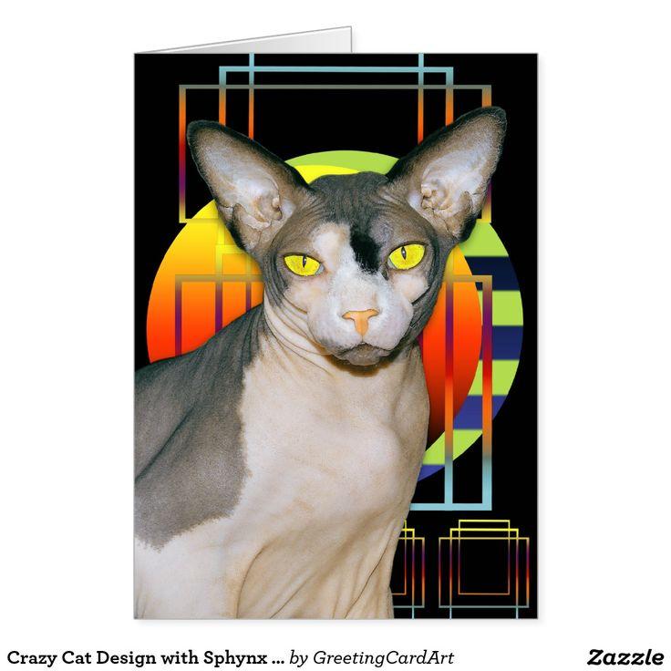 Crazy Cat Design with Sphynx Cat Ninja Card