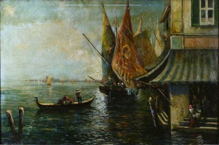 A view from the Isola de Guidecca looking towards Venice, the Campanile and Palazzo de Doges. A woman enters the domicile carrying either flowers or market goods while three recipients stand in the doorway. Fishing boats with their typical brightly colored sails are nearby as is a lone gondola and pilot with oar extended. Housed in th original frame in the original finish.