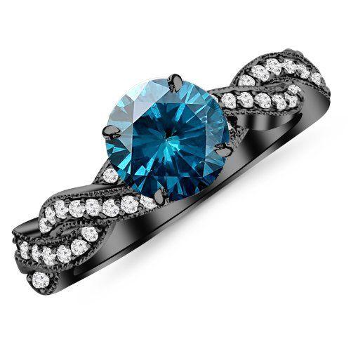 #blackdiamondgem 0.78 Carat 14K Black Gold Twisting Designer Eternity Love Split Shank Diamond Engagement Ring With Milgrain with a 0.5 Carat Blue Diamond Center http://blackdiamondgemstone.com/jewelry/wedding-anniversary/engagement-rings/078-carat-14k-black-gold-twisting-designer-eternity-love-split-shank-diamond-engagement-ring-with-milgrain-with-a-05-carat-blue-diamond-center-heirloom-quality-com/
