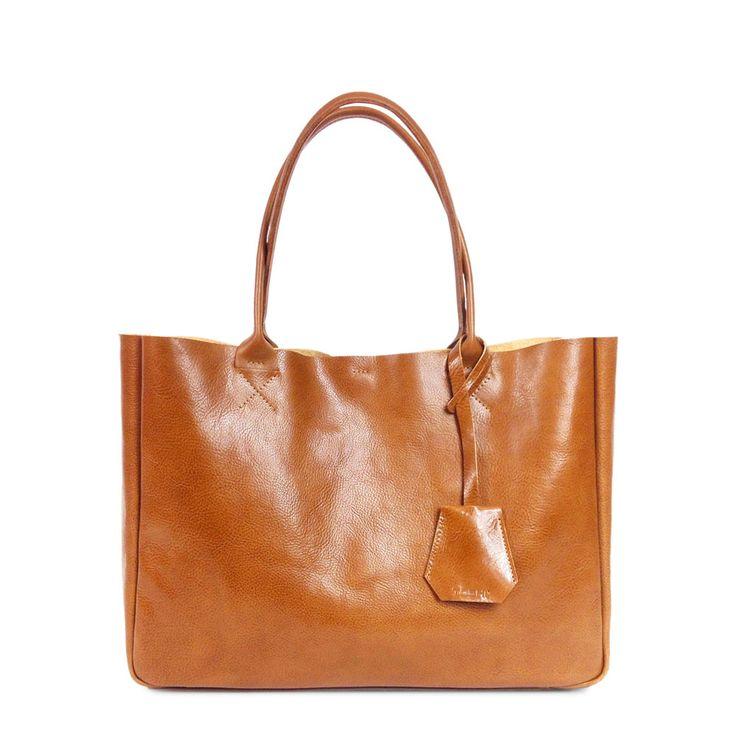 BELLA – Medium Camel Brown Leather Tote Bag