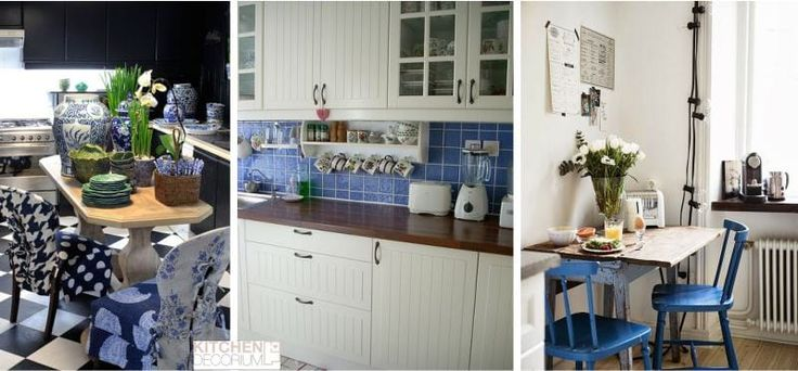 Синие акценты в интерьере кухни