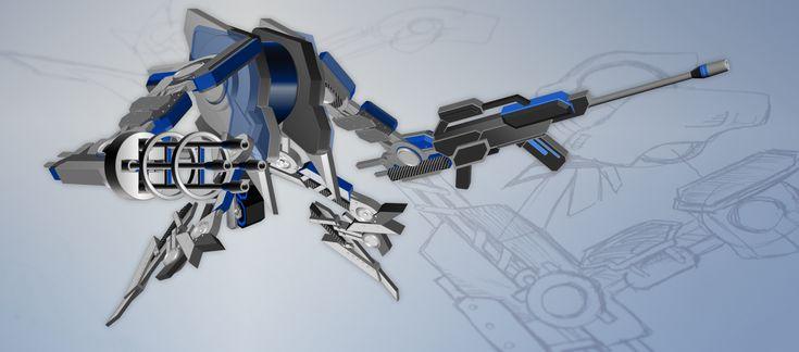 PowerPoint ist mehr als eine Software für Präsentationen: Michael Wiens gestaltete einen beeindruckenden Kampfroboter, einen MechWarrior, mit 3D-Effekten.