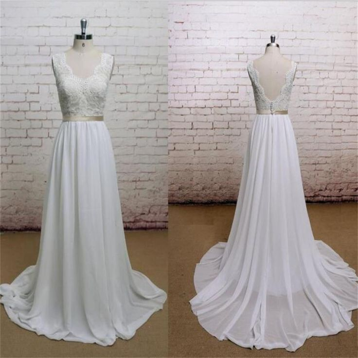 A-line Chiffon With Lace Simple V-Neck Free Custom Handmade Wedding Dresses, WD0135 The wedding dresses are fully lined, 4 bones in the bodice, chest pad in the bust, lace up back or zipper back are a