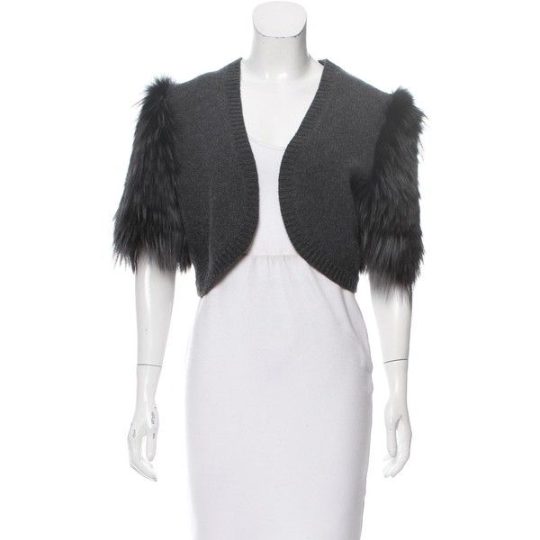 Pre-owned Michael Kors Fox Fur-Trimmed Cashmere Shrug ($395) ❤ liked on Polyvore featuring outerwear, grey, grey shrug, gray shrug, shrug cardigan, short shrugs and cashmere shrug