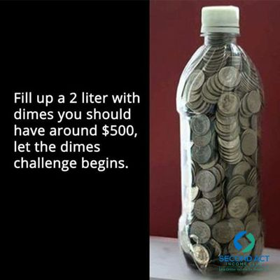 2 liter bottle of dimes = $500, challenge on! ‪#‎savings‬