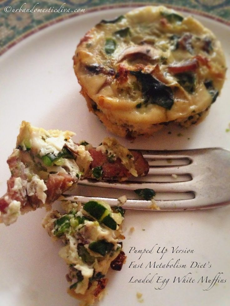 """The Urban Domestic Diva: FMD progress: My Pumped Up Version of the Fast Metabolism Diet's Loaded """"Egg White Muffins"""", Phase 2 http://www.urbandomesticdiva.com/2015/01/fmd-progress-my-pumped-up-version-of.html #FMD #fastmetabolismdiet"""