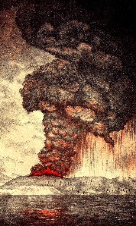 The eruptions of Krakatoa culminated in a series of massive explosions over August 26–27, 1883, which were among the most violent volcanic events in recorded history. The eruption was equivalent to 200 megatons of TNT —about 13,000 times the nuclear yield of the Little Boy bomb (13 to 16 kt) that devastated Hiroshima, Japan, during World War II.  The 1883 eruption ejected approximately 21 km3 (5.0 cu mi) of rock, ash & pumice. The cataclysmic explosion was heard 4,800 km away.