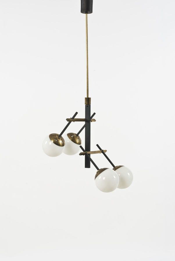 Anonymous; Brass, Painted Metal and Opaline Glass Ceiling Light Attributed to Stilnovo, c1960.