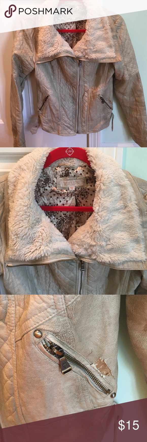 Guess faux leather jacket with faux fur Guess faux leather jacket with faux fur trim. Color of jacket is a distressed beige. Only imperfection is a tear next to the left zipper as seen in photo. Can negotiate price fairly due to the imperfection. Guess Jackets & Coats Blazers