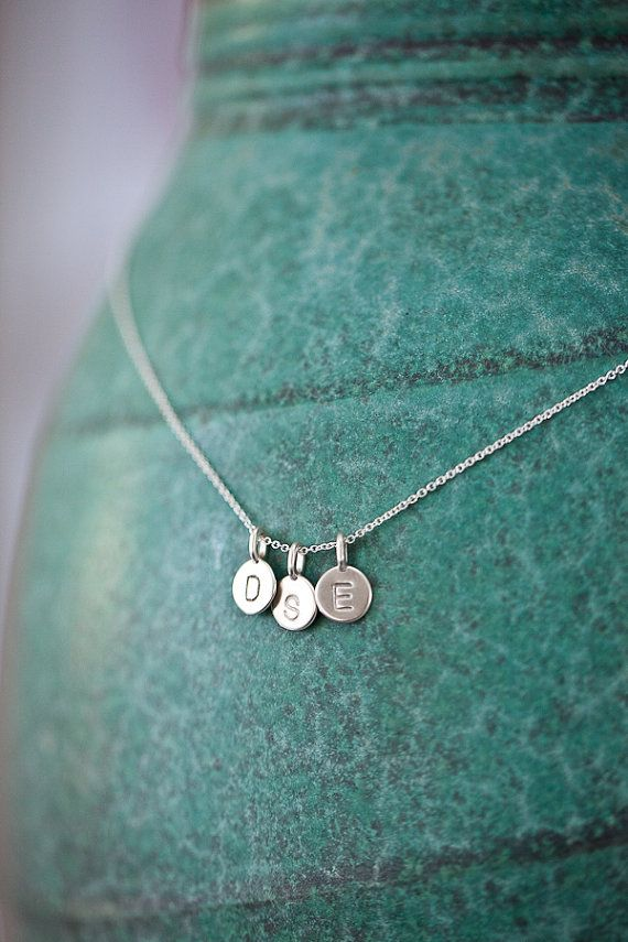 Supermarket: THREE Charms Tiny Initial Necklace in Sterling Silver from Anne Kiel Jewelry