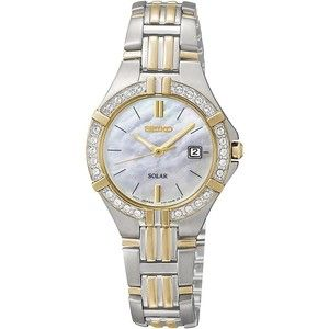 Seiko Womens Crystal Accent Two-Tone Solar Watch
