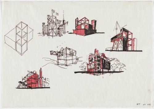 Bernard Tschumi. Parc de la Villette, Paris, France, Exterior perspectives, sketch. 1983