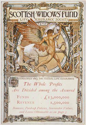 The Scottish Widows Fund, pictorial advertisement by Walter Crane