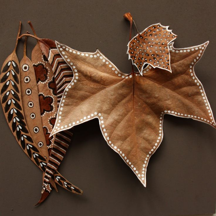 painted leaves and seed pods...fabulous!!!