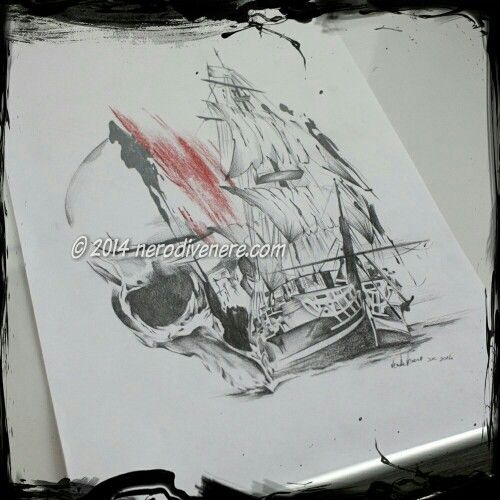 #tattoo #tatuaggio #nave #fantasma #teschio #skull #sailing #ship #draw #disegno #pencil #polka