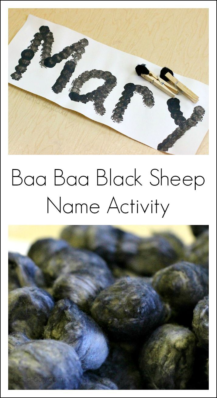 "Name activity for the nursery rhyme ""Baa Baa Black Sheep""!"