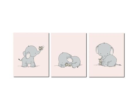 Elephant Nursery Art, Elephant and Bunny Nursery Art, Pink and Gray Nursery Decor, Set of 3 Prints, Kids Wall Art by SweetMelodyDesigns on Etsy https://www.etsy.com/listing/187950553/elephant-nursery-art-elephant-and-bunny