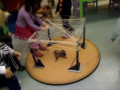 Spider web on table legs