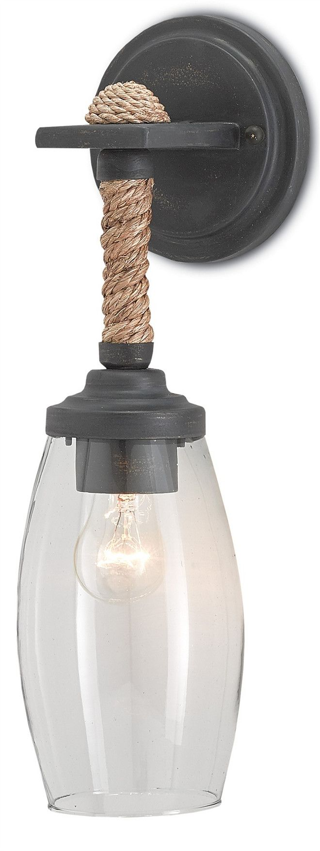 Currey & Co Hightider Wall Sconce. Farmhouse style lighting. Farmhouse interior lovers will love the simplicity of this sconce by Currey and Co. The perfect combination of natural materials and industrial textures, the Hightider Wall Sconce illuminates brilliant light through a blown glass shade. Its wrought iron metal frame is finished in French Black with a rope-wrapped hanging neck. Currey & Co Hightider Wall Sconce