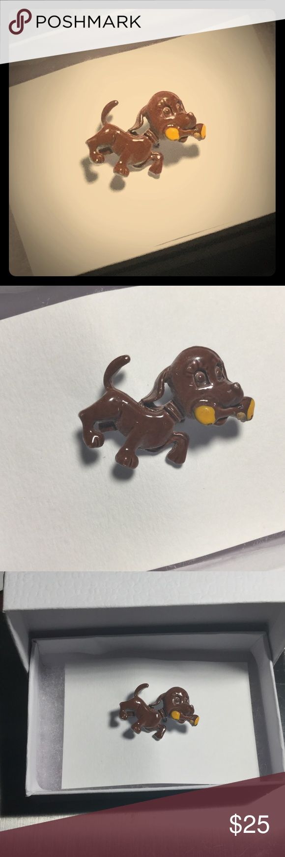 """Vintage Puppy Dog Brooch, Lapel Pin, hat pin Boxed 1.25"""" wide x 1"""" tall the enamel is unblemished, appears to be in the same condition that it has been when it was made - perhaps a bit less shiny. This is a truly vintage item with only a few available on auction sites such as eBay. Comes in a gift box and am happy to include a hand calligraphy message in a card of your choice: missing you, congratulations, birthday, thank you, condolences, blank, etc. Vintage Accessories"""
