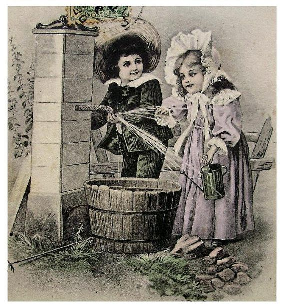 French Postcard  Boy Squirting Girl with Water by ChicEtChoc, $4.50